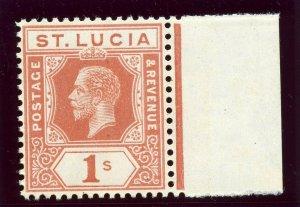 St Lucia 1920 KGV 1s orange-brown superb MNH. SG 86. Sc 71.