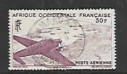 FRENCH WEST AFRICA, C12, USED, PLANE OVER DAKAR