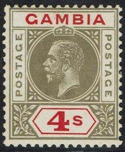 GAMBIA 1921 KGV 4/- WMK MULTI SCRIPT CA