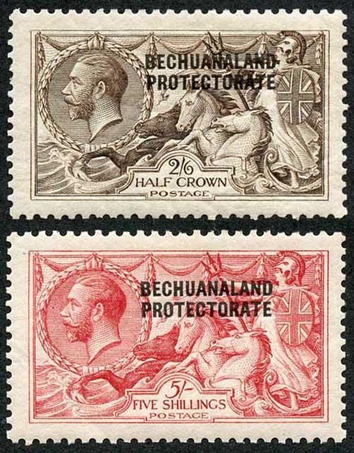 Bechuanaland SG83/4 2/6 and 5/- Waterlow Seahorse Fine M/Mint