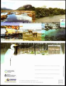 ARGENTINA 2011 POSTAL STATIONARY FAUNA BIRDS HUMEDITY REGIONS UNUSED