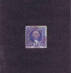 SCOTT# 115 USED 6 CENT WASHINGTON, 1869, PURPLE CANCEL. NICE PICTORIAL, LOOK