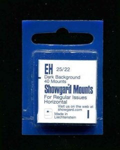 Showgard Black Stamp Mounts EH 25/22 PreCut  (40 count)  Small Stamps