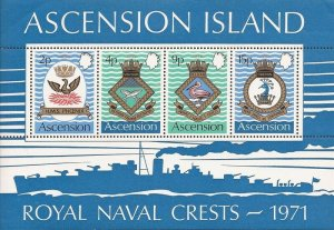 Ascension - 1971 Royal Naval Ships Coats of Arms - 4 Stamp Sheet - Scott #155a