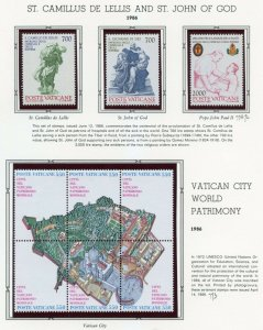 VATICAN CITY 1986  COMPLETE YEAR SET STAMPS MINT NH ON WHITE ACE ALBUM PAGES