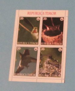 Timor - Unlisted Block of 4. Birds
