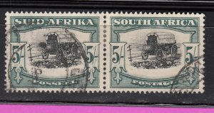 J28445, 1933-54 south africa used pair #64 black and green perf 14 ox wogon