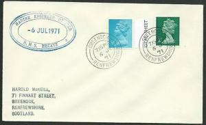 GB SCOTLAND 1971 cover HMS HECATE navy ship cachet - Greenock cds..........47958