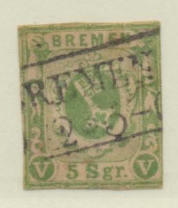 Bremen (German State) Stamp Scott #4, Used - Free U.S. Shipping, Free Worldwi...