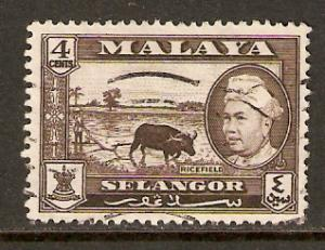 Malaya-Selangor  #104  used  (1957)  c.v. $0.25