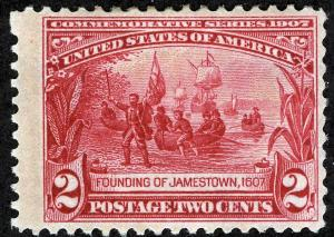 US Sc 329 Carmine 2¢ Jamestown Original Gum Hinged