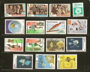 Nicaragua Lot of 15 Different 1980's Stamps CTO