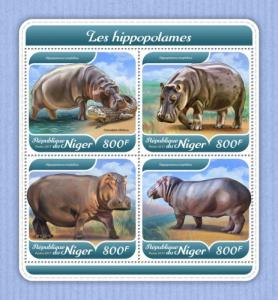 NIGER - 2017 - Hippopotamus - Perf 4v Sheet - MNH