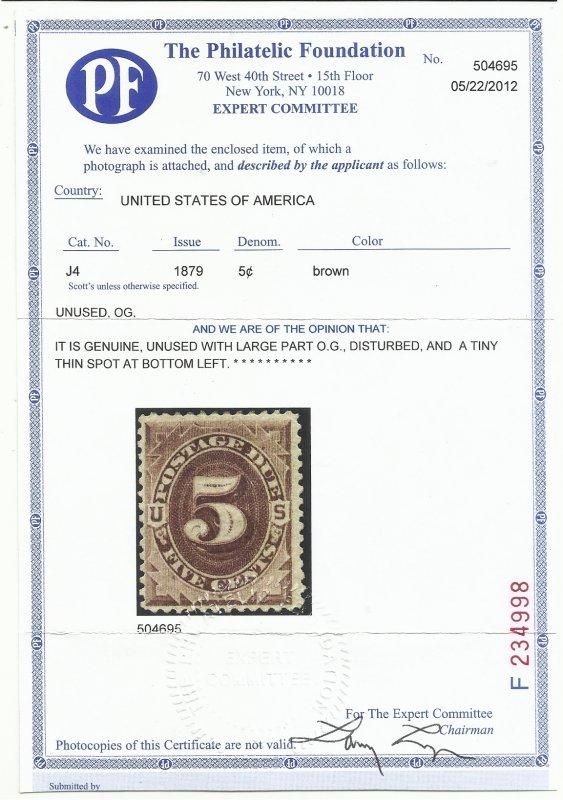 J4 5c Mint Dist OG, Some HR PF Cert Fine Centering See cert scan