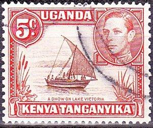 KENYA UGANDA TANGANYIKA 1949 KGVI 5c Reddish-Brown & Orange SG133 FU