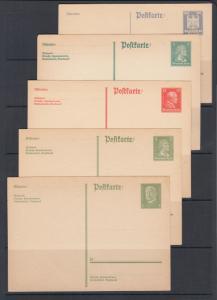 Germany Mi P157I/P180I unused. 1924-26 Postal cards, 5 different, sound, F-VF