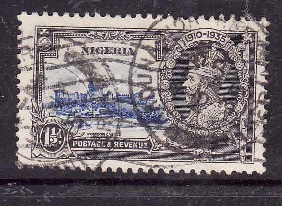 Nigeria-Sc#34-used dated KGV-1&1/2d Silver Jubilee-Royalty-13 Jy 1935-Castles-