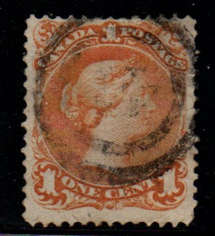 Canada Sc 23 1868 1 c yellow orange large Queen Victoria stamp used 2 ring cance