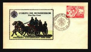 Brazil 1956 Bombeiros FDC / Hand Colored / UA - L3635