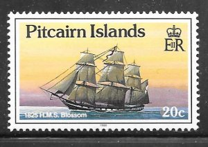 Pitcairn Islands 301: 20c HMS Blossom (survey ship), 1825, MH, F-VF