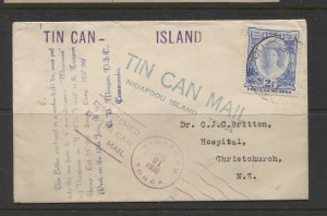 STAMP STATION PERTH Toga # Tin Can Bay 1936 Mail to New Zealand- Both side shown