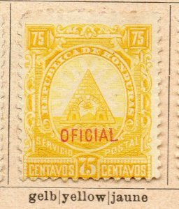 Honduras 1890 Early Issue Fine Mint Hinged 75c. Official Optd NW-11888