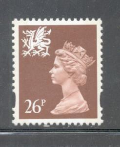 GB Wales SC WMMH61 1996 26p brown Machin Head stamp NH