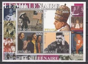 Rwanda, 2001 Cinderella issue. 60`s sheet. Guevara, Beatles, Man on the Moon.
