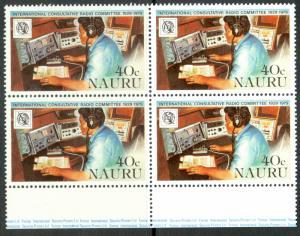 NAURU 1979 40c RADIO BEACON OPERATOR ITU Issue BLOCK OF 4 Sc 200 MNH