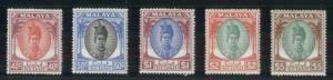 MALAYA-KEDAH #77-81, 40¢ - $5.00 high value in set, og, LH, VF, Scott $118.00