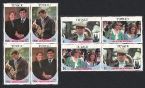 Tuvalu Royal Wedding Prince Andrew 4v Blocks of 4 1986 MNH SG#397-400