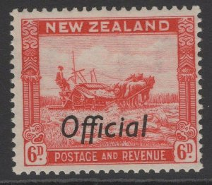 NEW ZEALAND SGO127 1937 6d SCARLET MNH