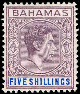 BAHAMAS SG156, 5s lilac & blue THICK PAPER, M MINT. Cat £170.