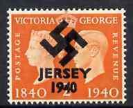 Jersey 1940 Swastika opt on Great Britain KG6 Centenary 2d orange