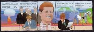 Marshall 200-204a strip,MNH.Michel 194-198. Tribute to John F.Kennedy,1988.