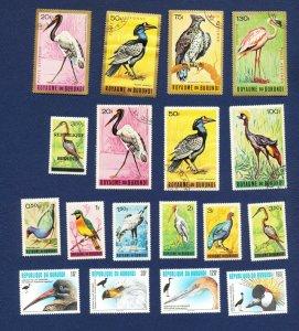 BURUNDI - 111 // 744  - FVF MNH lot of 18 different -  BIRDS - 1965-1996
