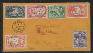CAYMAN ISANDS (P1706B) 1949 KGVI 6 STAMP FRANK  REG COVER THE CREEK LOCAL