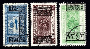 SAUDI ARABIA  EARLY OVERPRINTS USED x3 COLLECTION LOT YOU IDENTIFY AND GRADE #2