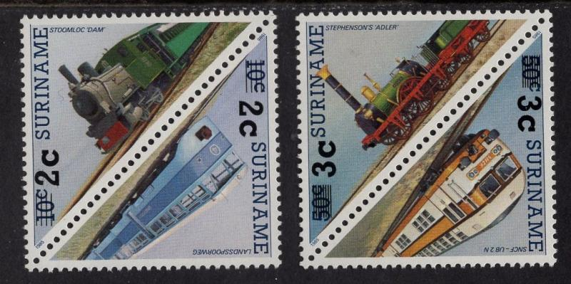 Surinam  #888-891  1991  MNH  surcharges  trains in pairs