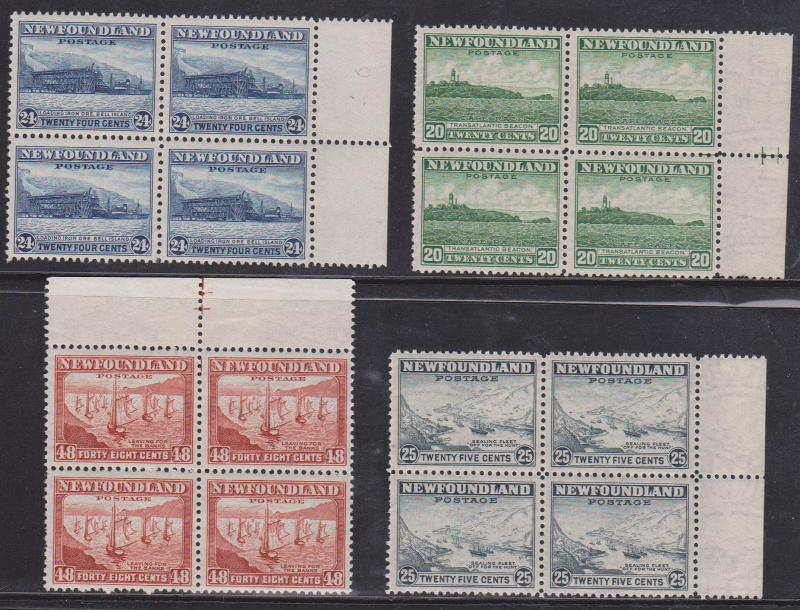 Newfoundland - #263-266 1941-1944 20c to 48c Blocks of 4 mint NH