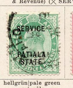 India Patiala 1907 Early EdVII Issue Used 1/2a.