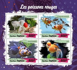 TOGO - 2019 - Golden Fishes - Perf 4v Sheet - M N H