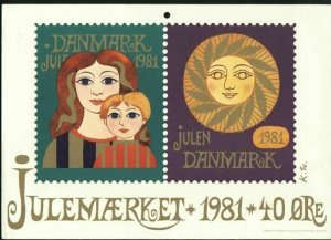 Denmark. Christmas Seal.1981. 1 Post Office,Display,Advertising Sign. Sun,Moon.