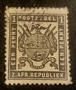 Transvaal Scott 21 Coat of Arms One Penny-Used