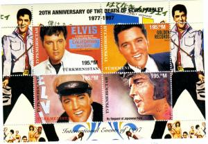 TURKMENISTAN 1997 SPACE Elvis Presley Sheet Perforated Mint (NH)