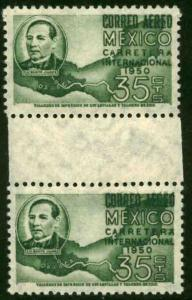 MEXICO C200 35cts Highway Inauguration Gutter Pair MNH