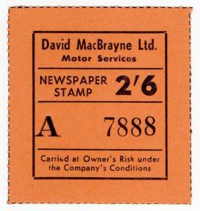 (I.B) Cinderella Collection : David MacBrayne Motor Services - Newspapers 2/6d