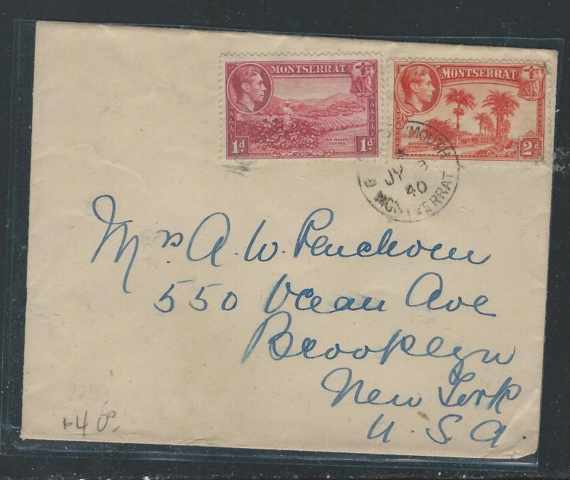 MONTSERRAT (P0912B) 1940  KGVI 1D+2D PLYOUTH TO USA
