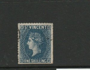 St Vincent 1869 1/- Indigo, Used, Forgery