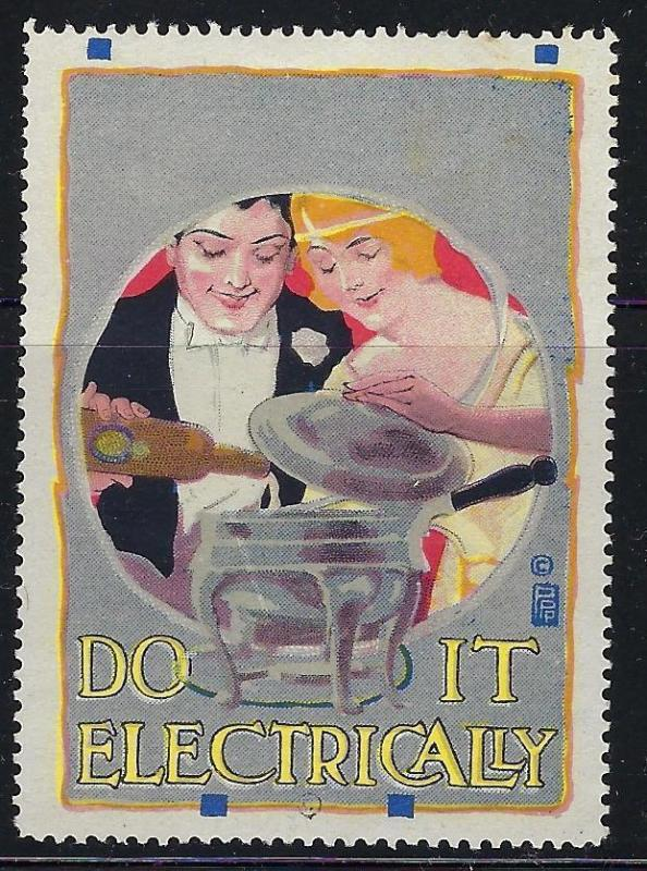 VEGAS Early 1900s Do It Electrically Promotional Poster Stamp (CQ118)